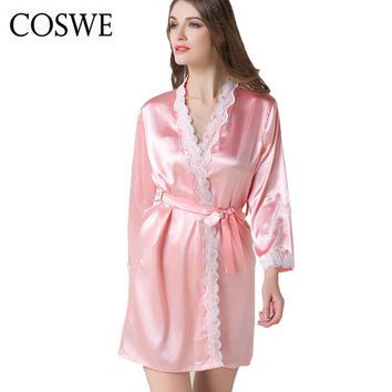 COSWE XXL Women's Satin Silk Woman White Pink Robe Female Lace Bathrobe Womens Robes Sleepwear Ladies Sexy Robe For Women HD1602
