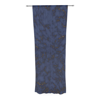 """Will Wild """"Blue & Gold Marble"""" Navy Abstract Decorative Sheer Curtain"""