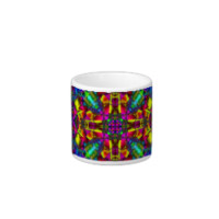 Purple Turquiose and Yellow Mandala Pattern Espresso Mugs