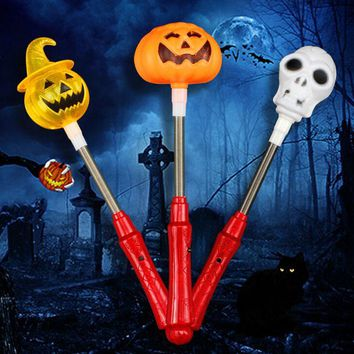 1pc Creative Halloween Shaker Toy with LED Light Pumpkin Ghost Plastic Glow Stick Halloween Costume Glow Party Supplies Decor