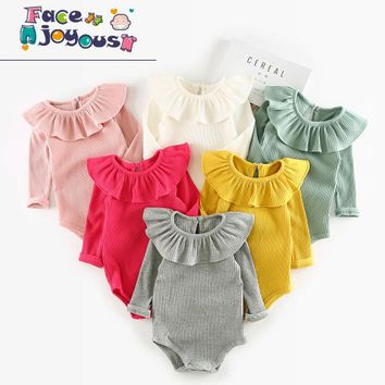 Children 6Colors Body suit Baby Girl Clothes Lotus Leaf Collar Baby Cotton Rompers Newborn Baby Boys Girls Long Sleeve Jumpsuits