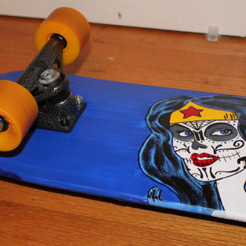 Hand Painted Dia De Los Muertos Wonder Woman Skateboard