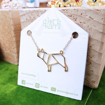 New Trendy Gold Silver Personalized French Bulldog Origami Necklace Animal Pendant Hunger Games Necklace Women Best Friend