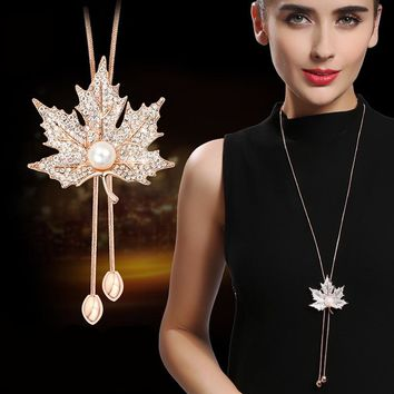 Lovely Maple Leaf Long Beaded Chain Tassel Pendant Necklace Women Office Lady Imitation Pearl Jewelry Bijoux Gifts
