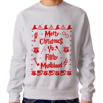 Harry Potter Merry Christmas Ya Filthy Mudblood 2 Sweater Man And Sweater Woman