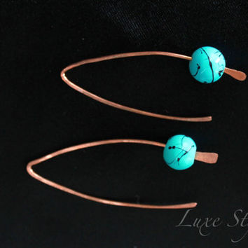 Copper Ear Rings Metal Jewelry Turquoise Beaded Wire Modern Contemporary Handmade Luxe Style