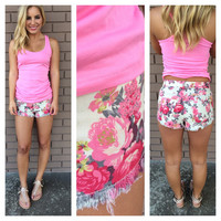 Cream & Pink Floral Denim Shorts
