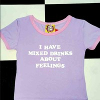 SWEET LORD O'MIGHTY! MIXED DRINKS ABOUT FEELINGS RINGER TEE IN PURPLE
