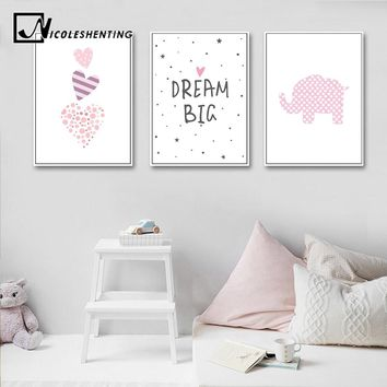 Pink Heart Elephant Canvas Painting Wall Art Cartoon Poster Nursery Prints Nordic Kids Decoration Pictures Baby Bedroom Decor