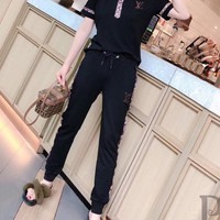 """LOUIS VUITTON"" Women's Leisure  Fashion Letter Printing   Short Sleeve  POLO Shirt Trousers Two-Piece Casual Wear"