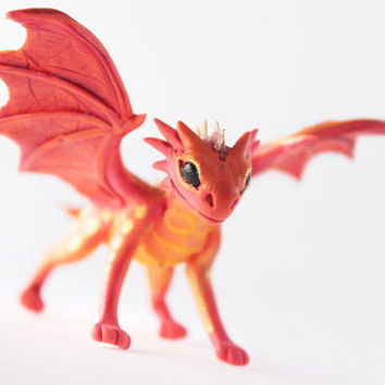 Little Dragon cute figurine red, fire, flame orange dragon, fantasy art sculpture handmade - magic gif
