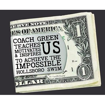 Swim Coach Personalization Money Clip | Coach Gift