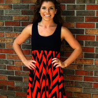 Navy/Orange Chevron Dress
