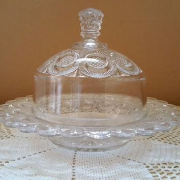 Vintage Clear Glass Cheese Server Butter Dish Thumbprint Design