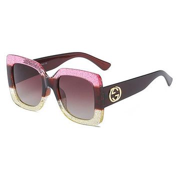 Gucci Popular Women Men Casual Summer Sun Shades Eyeglasses Glasses Sunglasses Pink I