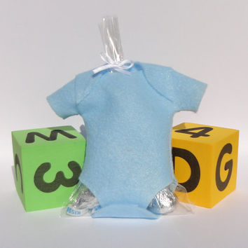 10 Blue Onsie Baby Shower Favors