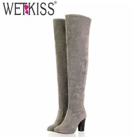 Fashion Online Big Size 34-43 2016 Newest Round Toe Vintage Over The Knee High Boots Lady's Med Heels Autumn Winter Boots Fashion Women Shoes