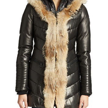 Rudsak Fur-Trimmed Down-Filled Leather Coat
