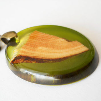 Olive green pendant, wood and resin necklace, resin jewelry,  unique necklace, wooden jewelry, wood resin fusion, pine wood pendant