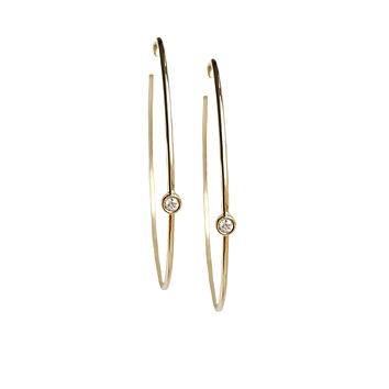 Bezeled Diamond Hoop Earrings