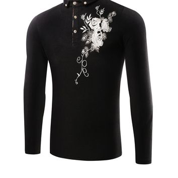 Streetstyle  Casual Floral Embroidery T-Shirt With Button Down Collar