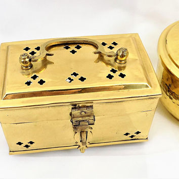 Small Brass Cricket Box, Hinged Lid with Handle, Good Luck, Footed Base, Vintage Home Decor