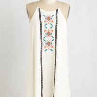 Boho Mid-length Spaghetti Straps Shift Hip, Hip, Vacay Dress by ModCloth