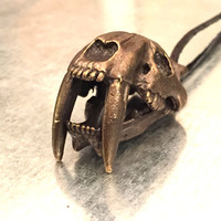 Saber-Toothed Cat Jewelry, Skull Necklace, Big Cat Necklace, La Brea Tar Pits