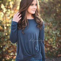 Navy Knot Top