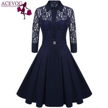 ACEVOG Brand 2017 Women Vintage Pleated Dress Autumn Retro Style Sexy Pattern Slim Casual Party Swing Lace Dress 2 Pieces Dress
