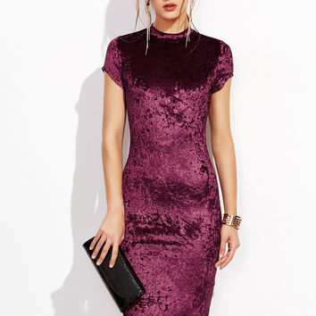 Burgundy Velvet Pencil Skirt Dress