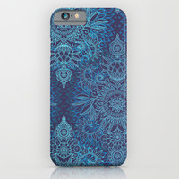 Aqua, Cobalt Blue & Purple Protea Doodle Pattern iPhone & iPod Case by Micklyn
