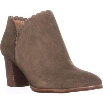 Jack Rogers Marianne Scalloped Low Rise Booties, Olive, 7.5 US