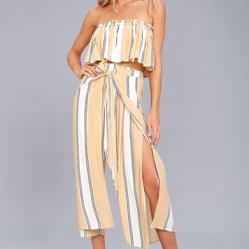 Faithfull the Brand Sands Island Beige Striped Pants