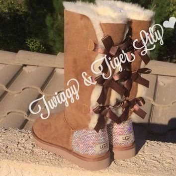ICIK8X2 NEW - Chestnut TALL Bailey Bow Uggs With Swarovski Crystal Bling Embellishment - Cryst