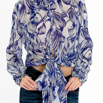Olivaceous Women's Indigo palm waist tie blouse with mock neck