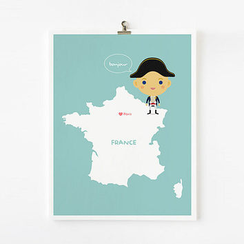 Personalized Custom France Map with adorable children by loopzart