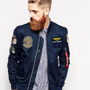 Alpha Industries Bomber Jacket with Patches EXCLUSIVE at asos.com