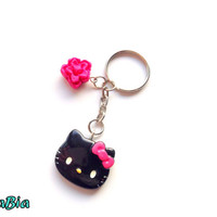 Black Hello kitty keychain - kawaii charm with pink flower - cute accessory