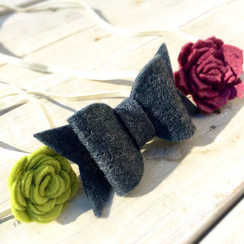 Purple Felt Flower Headband, Gray felt Bow headband, baby headband set, Green Felt Bow Headband set, infant headbands, newborn headbands