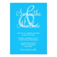 Modern Azure Blue Ampersand Wedding Invitations