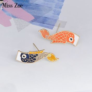 Miss Zoe Japanese-style Carp flag Carp festival Boy festival Brooch Denim Jacket Pin Buckle Shirt Badge Fashion Gift for Boys