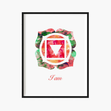 Yoga Art ROOT Chakra Art Mandala Art Metaphysical Art Reiki Art Healing Art Rainbow Watercolor Sacred Geometry Meditation YOGA PRINT Lotus