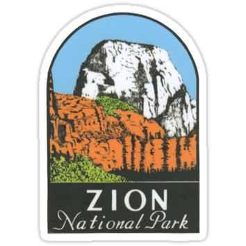 'Zion National Park Utah UT State Vintage Travel Decal' Sticker by hilda74