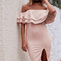 Frill Seeker Party Dress Nude