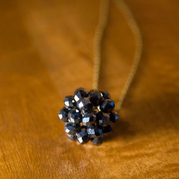 Navy blue beaded ball chain necklace