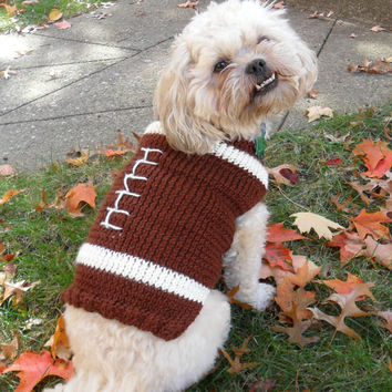 Football dog sweater knitting pattern - PDF, small dog sweater
