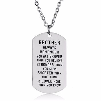 Brother Gifts Pendants Stainless Steel Best Friends Necklace Charm Friendship Family Bro Gifts Mens Necklace Jewelry Presents