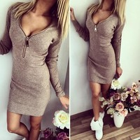 V-Neck Zipper Dress