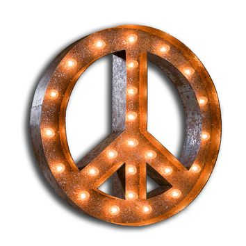 4 Foot Peace Sign Vintage Marquee Sign with Lights (Rustic)